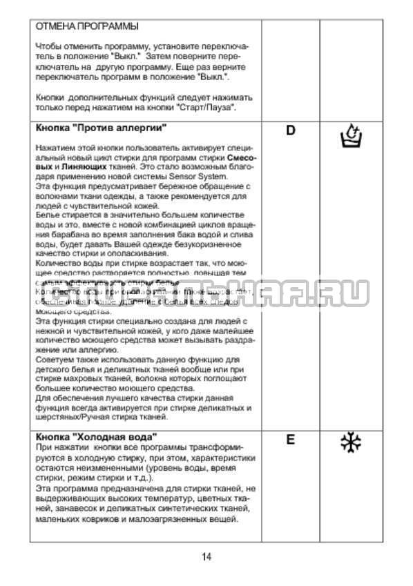Инструкция Candy AQUA 1D835-07 страница №14