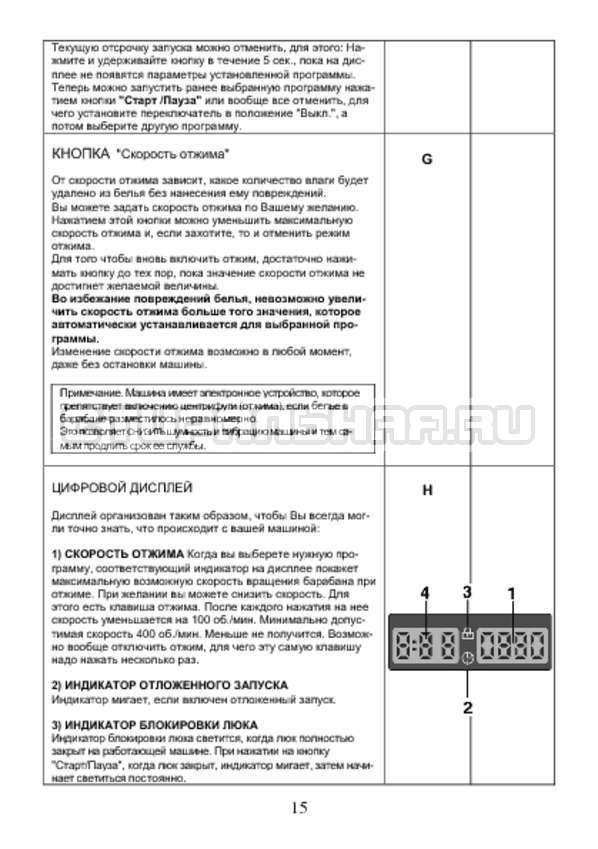 Инструкция Candy AQUA 2D1040-07 страница №15