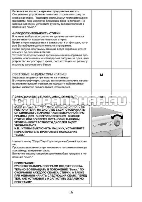 Инструкция Candy AQUA 2D1140-07 страница №16