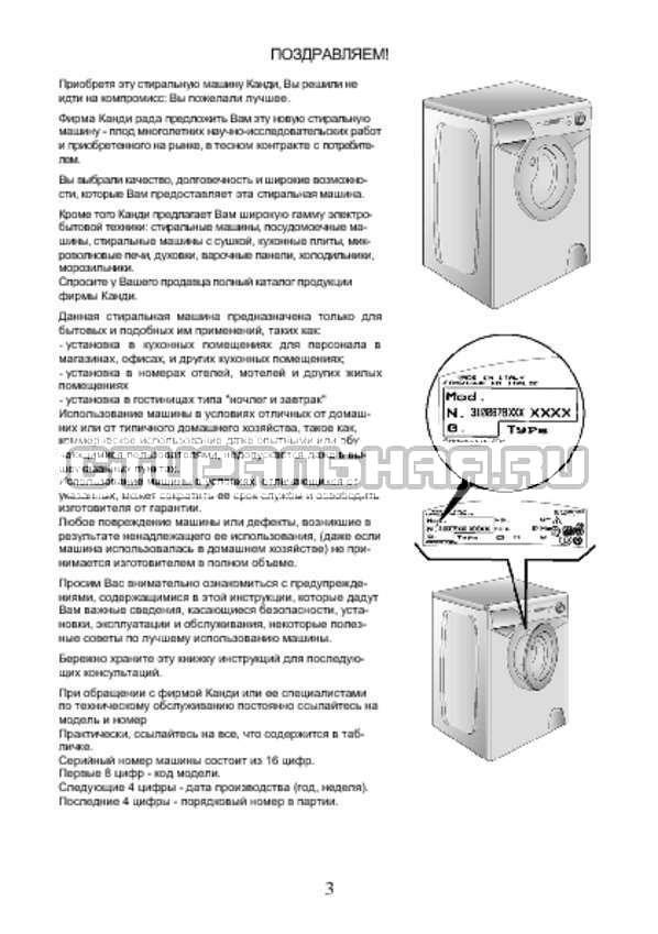 Инструкция Candy AQUA 2D840-07 страница №3