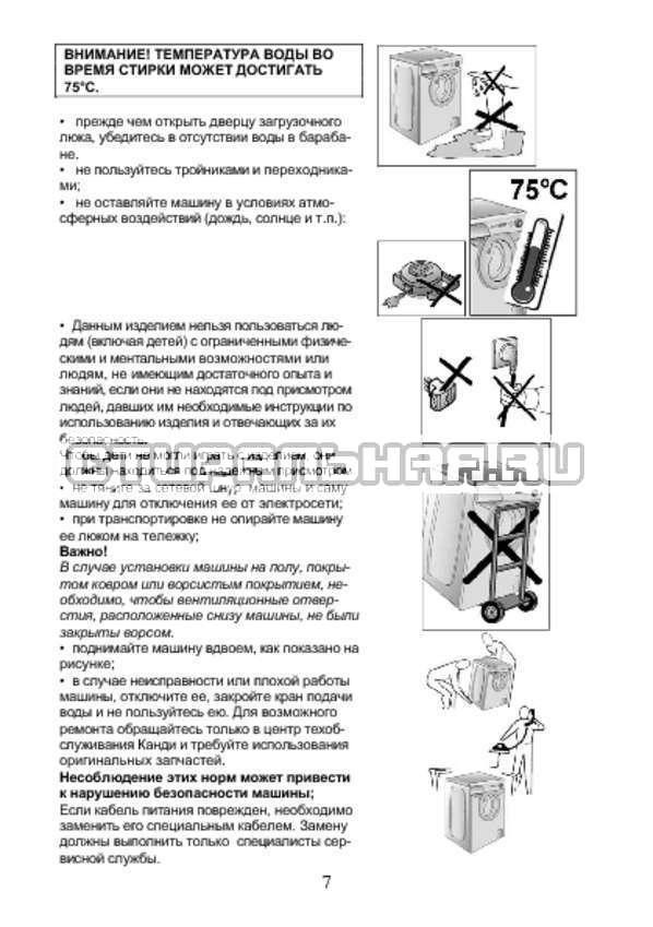 Инструкция Candy AQUA 2D840-07 страница №7