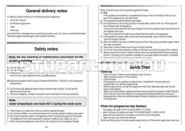 Инструкция Candy CS 105 TXT страница №21