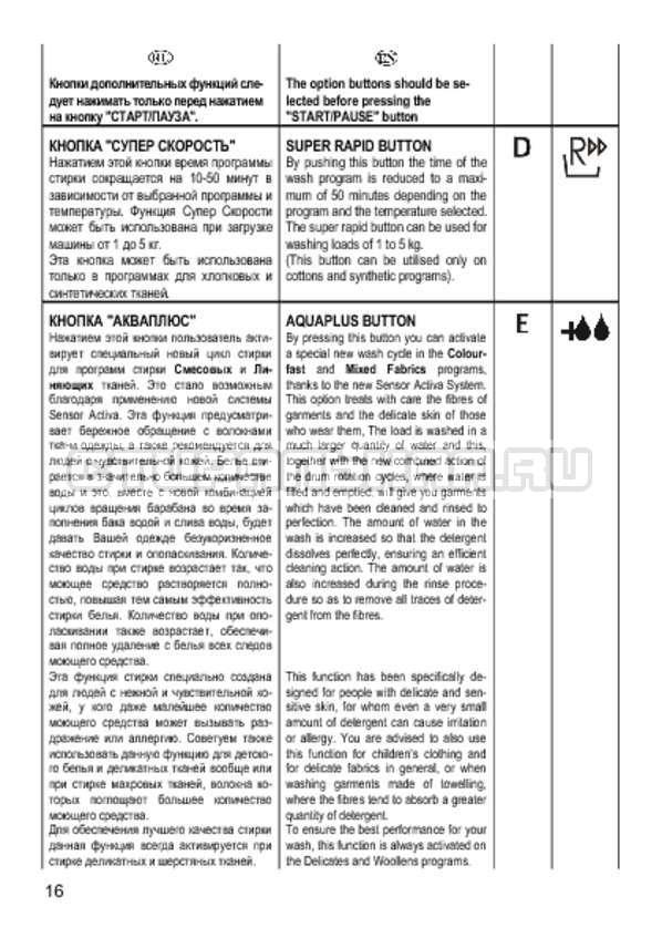 Инструкция Candy CS 2108 страница №16