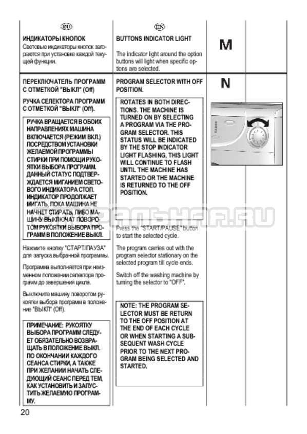 Инструкция Candy CS 2108 страница №20