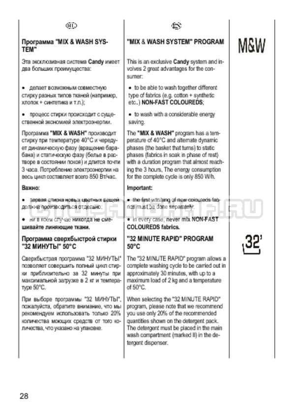 Инструкция Candy CS 2108 страница №28