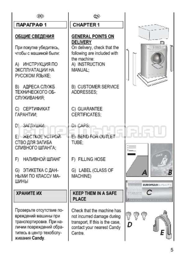 Инструкция Candy CS 2108 страница №5
