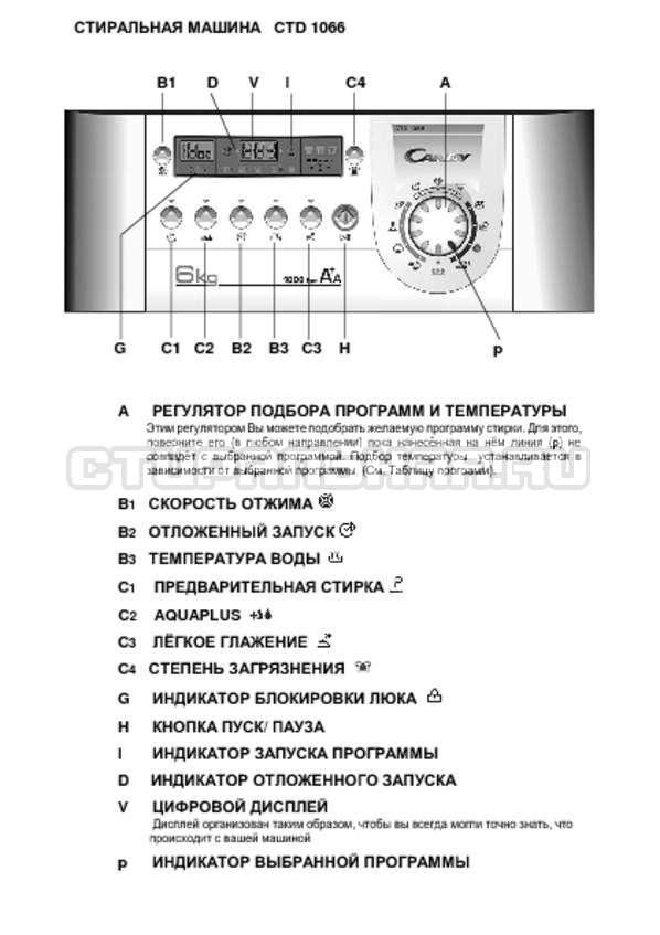 Инструкция Candy CTD 1066 страница №1