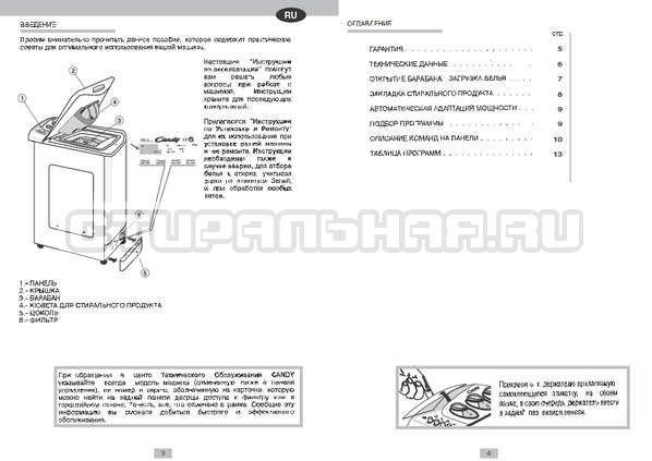 Инструкция Candy CTS 60 страница №1