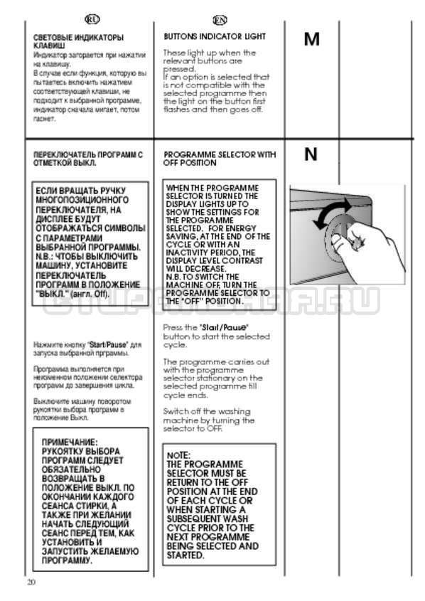 Инструкция Candy CWB 1372 DN1-07 страница №20