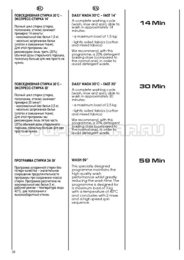 Инструкция Candy CWB 1382 DN1-07S страница №28