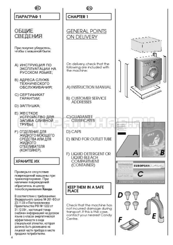 Инструкция Candy CWB 1382 DN1-07S страница №4