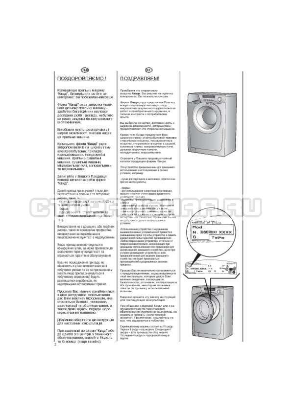 Инструкция Candy EVO44 1283 DW страница №2