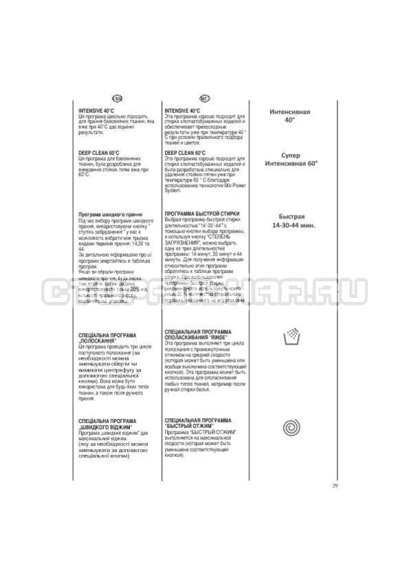 Инструкция Candy EVO44 1283 DW страница №29