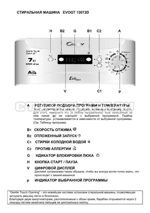 Инструкция Candy EVOGT 1207 2D страница №1