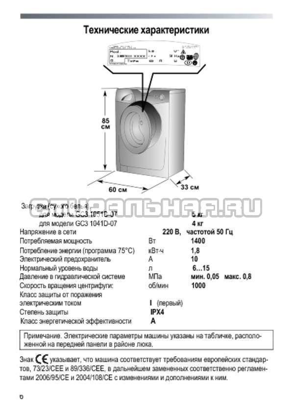 Инструкция Candy GC3 1051 D страница №6