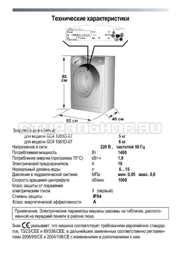Инструкция Candy GC4 1051 D страница №6