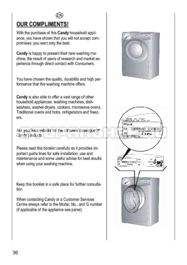 Инструкция Candy GO4 1064 D страница №36