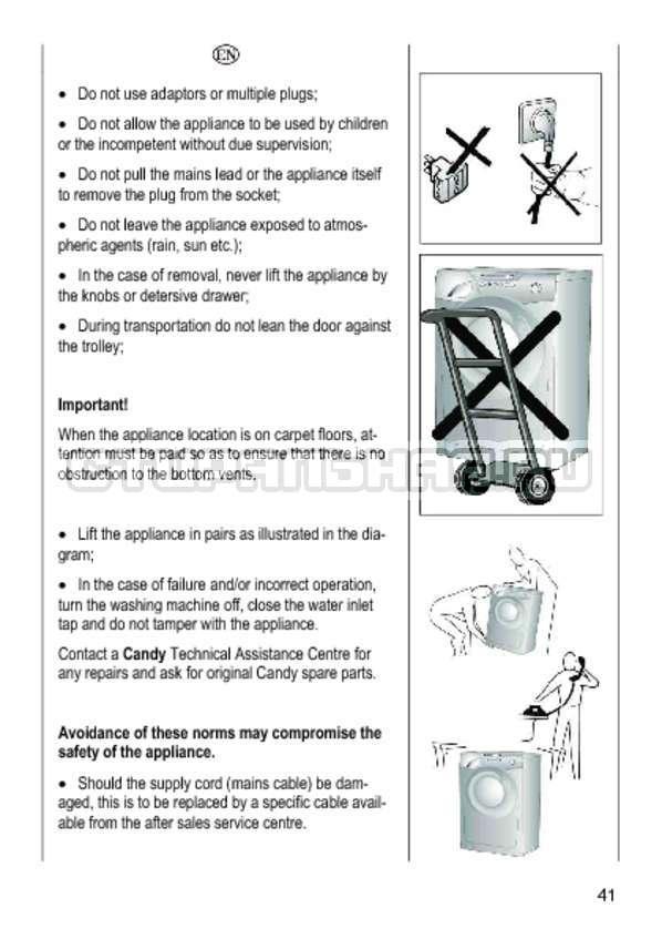 Инструкция Candy GO4 1064 D страница №41