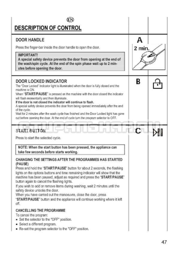 Инструкция Candy GO4 1064 D страница №47