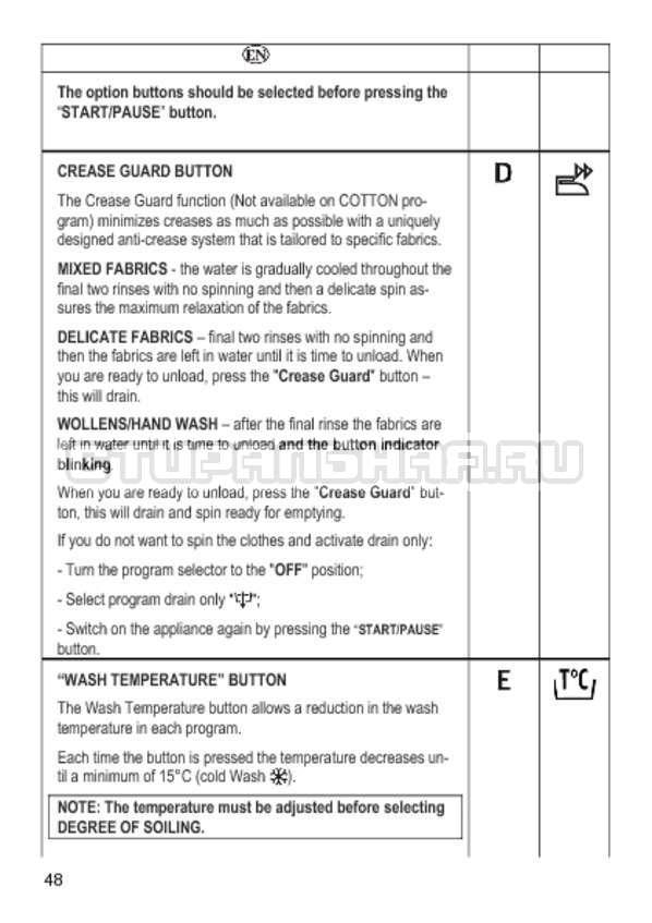 Инструкция Candy GO4 1064 D страница №48