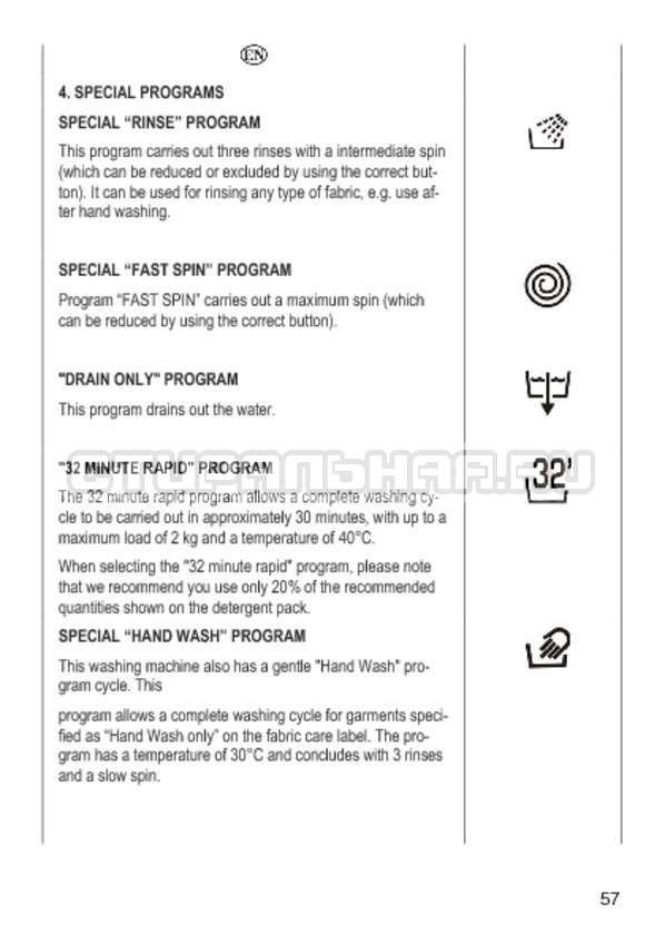 Инструкция Candy GO4 1064 D страница №57