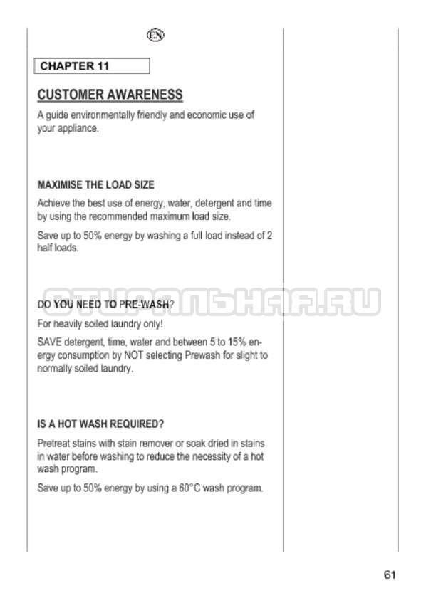Инструкция Candy GO4 1064 D страница №61