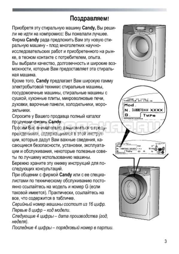 Инструкция Candy GO4 2107 LMW страница №3