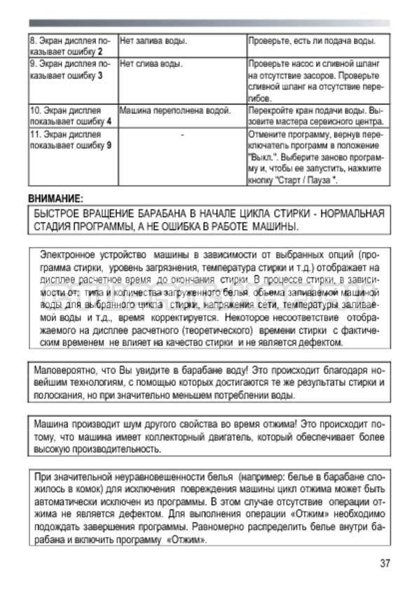 Инструкция Candy GO4 2107 LMW страница №37