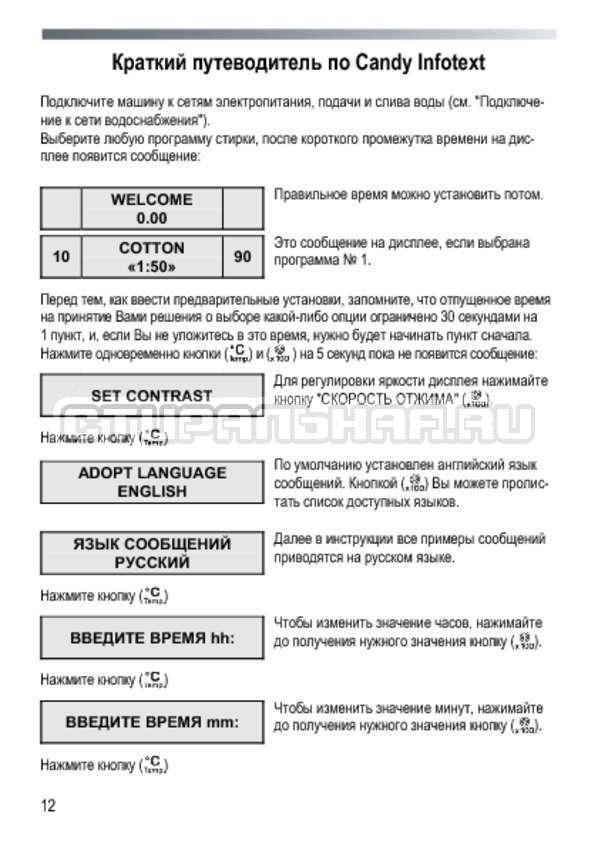 Инструкция Candy GOY 105 TXT страница №12