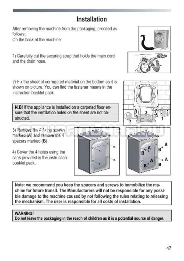 Инструкция Candy GOY 105 TXT страница №47