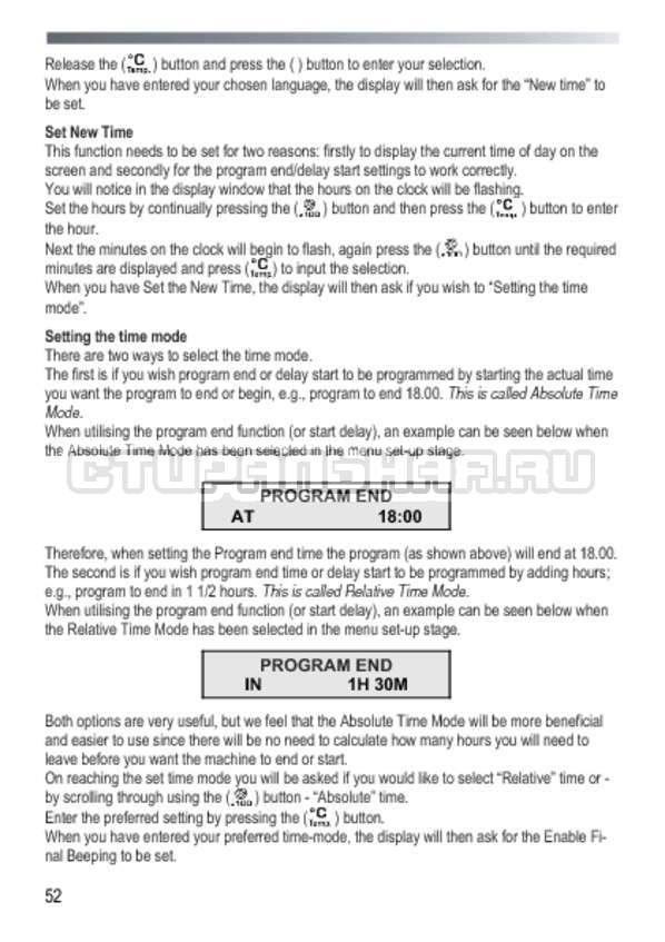 Инструкция Candy GOY 105 TXT страница №52