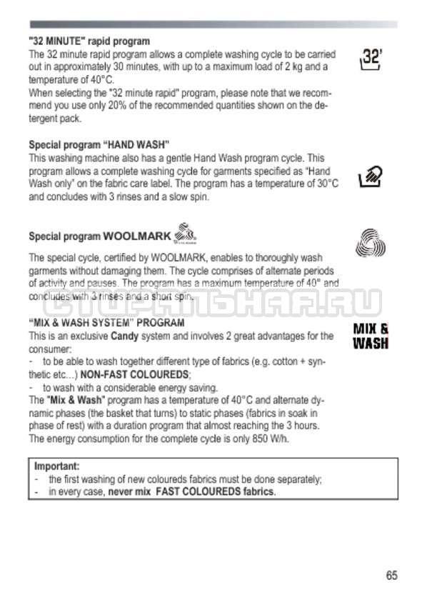 Инструкция Candy GOY 105 TXT страница №65