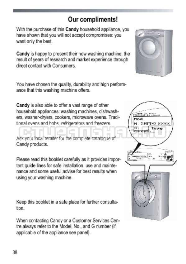 Инструкция Candy GOY 1050 D страница №38