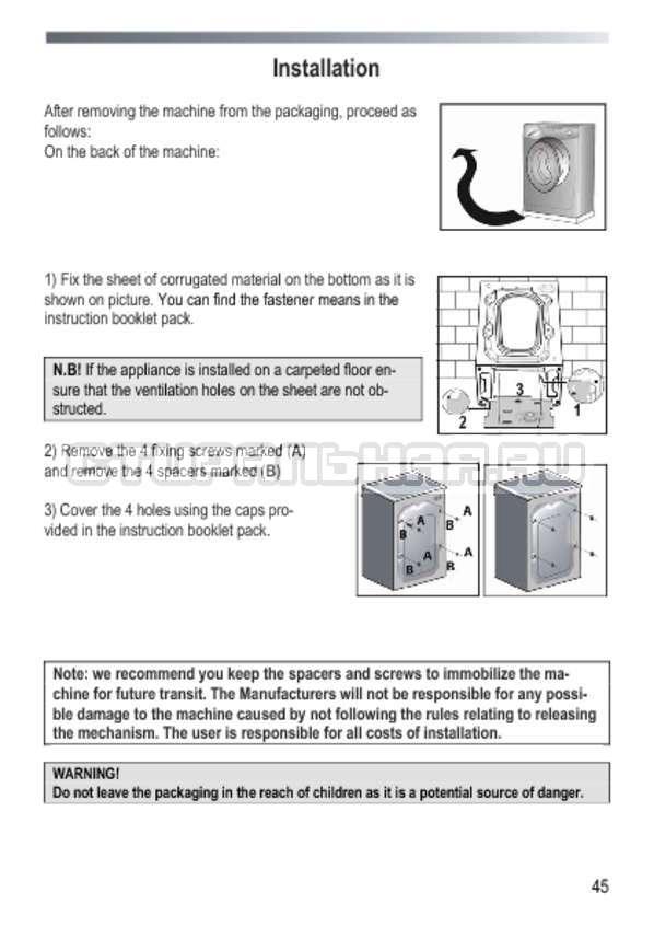 Инструкция Candy GOY 1050 D страница №45