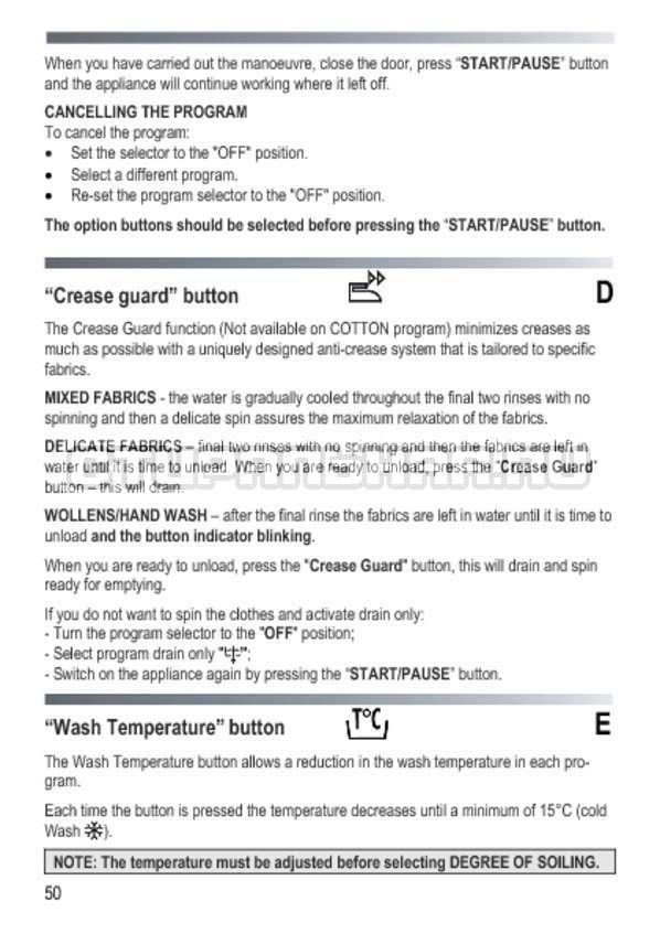 Инструкция Candy GOY 1050 D страница №50