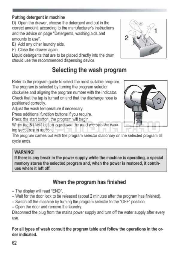 Инструкция Candy GOY 1050 D страница №62