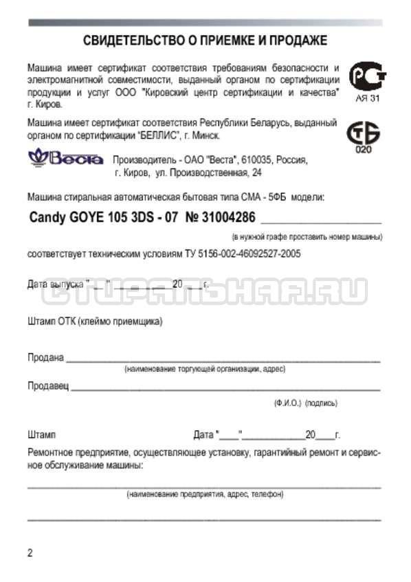 Инструкция Candy GOYE 105 3DS страница №2