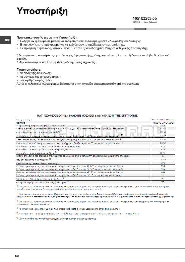 Инструкция Hotpoint-Ariston Aqualtis AQ114D 697D страница №60