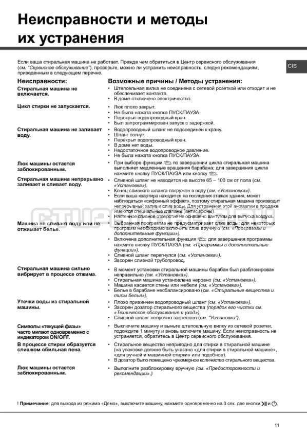 Инструкция Hotpoint-Ariston Aqualtis AQ91F 09 страница №11