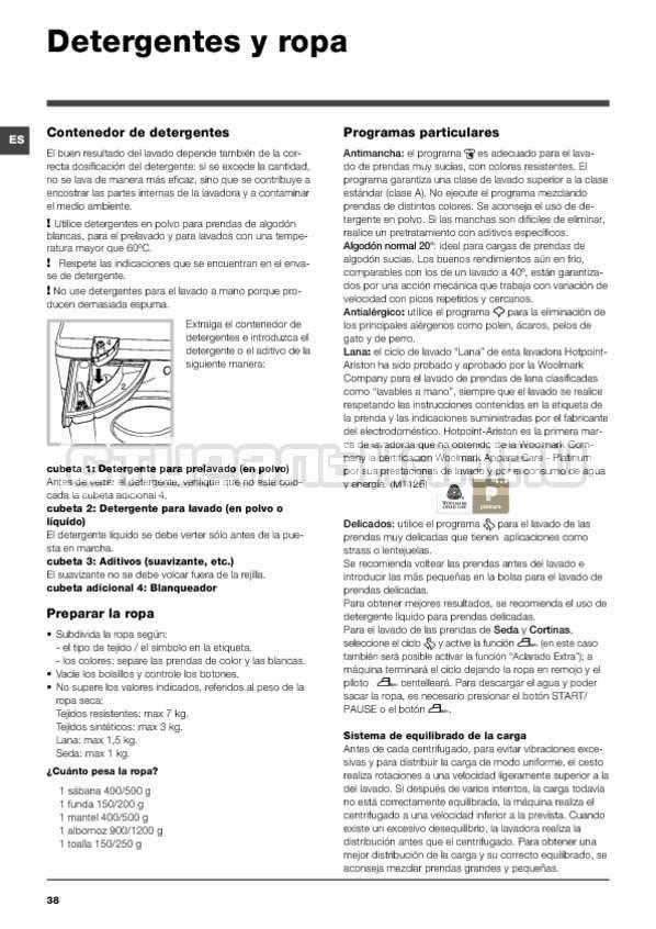 Инструкция Hotpoint-Ariston BWMD 742 страница №38