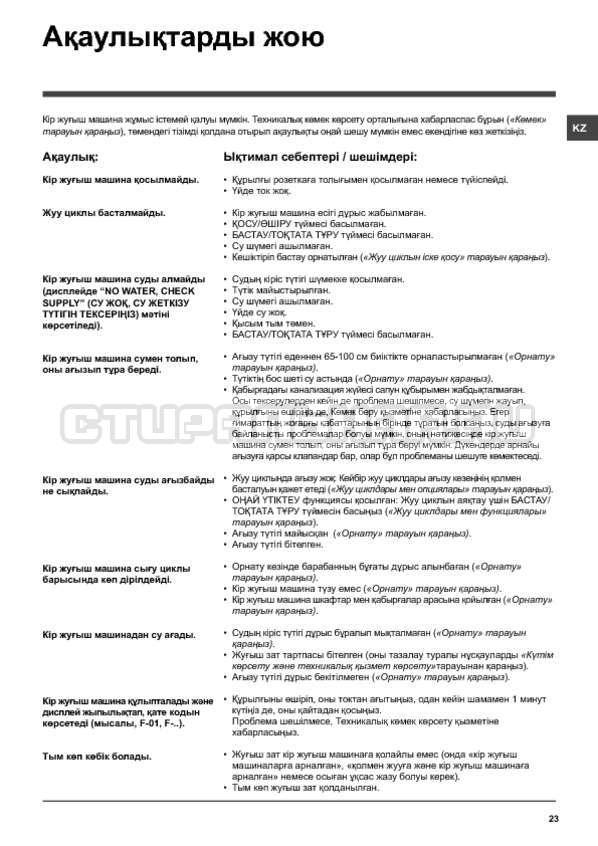 Инструкция Hotpoint-Ariston WMD 11419B страница №23