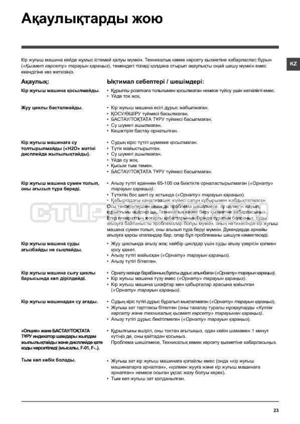 Инструкция Hotpoint-Ariston WMG 9018B страница №23