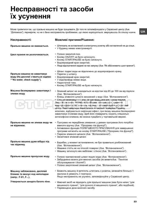 Инструкция Hotpoint-Ariston WMSD 600B страница №23