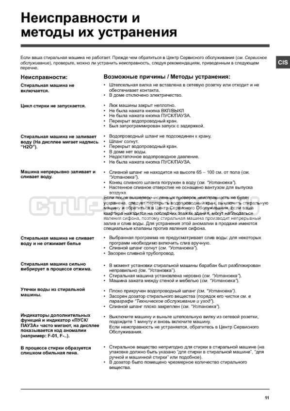 Инструкция Hotpoint-Ariston WMSG 625B страница №11