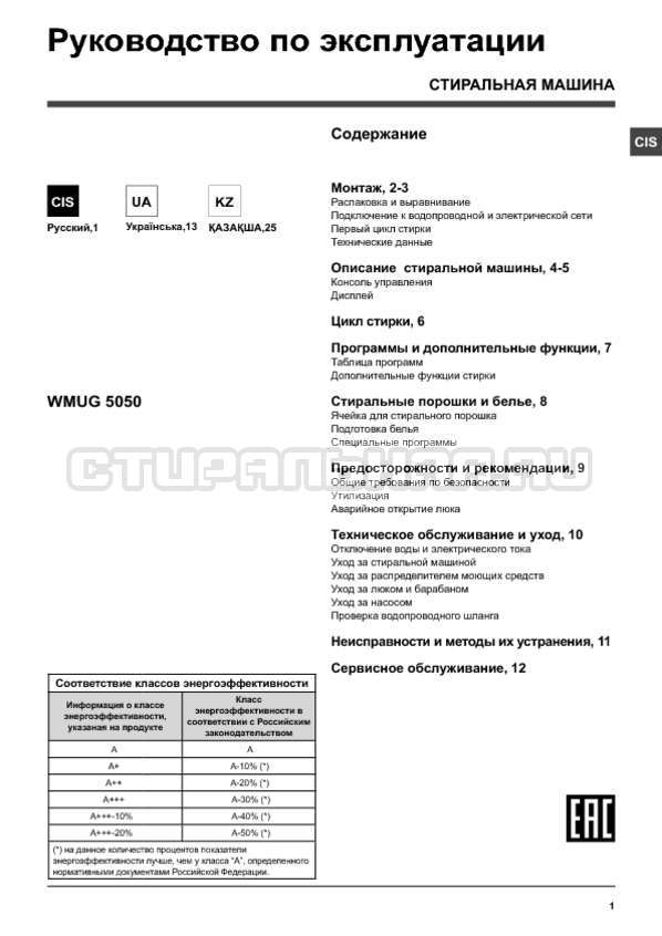 Инструкция Hotpoint-Ariston WMUG 5050B страница №1
