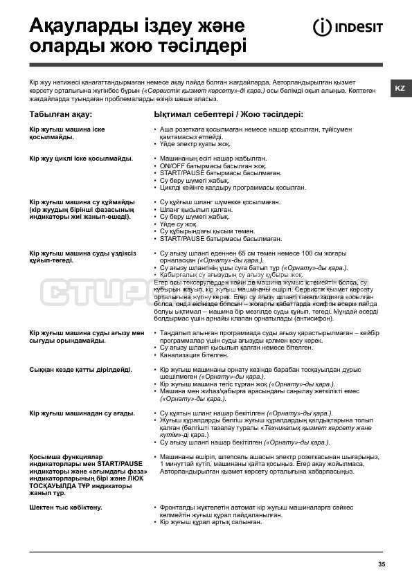 Инструкция Indesit IWSB 6085 страница №35