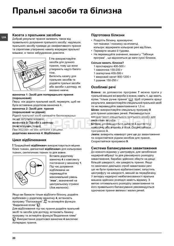 Инструкция Indesit IWSC 6105 страница №20