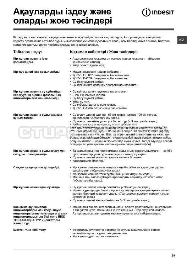Инструкция Indesit IWSC 6105 страница №35
