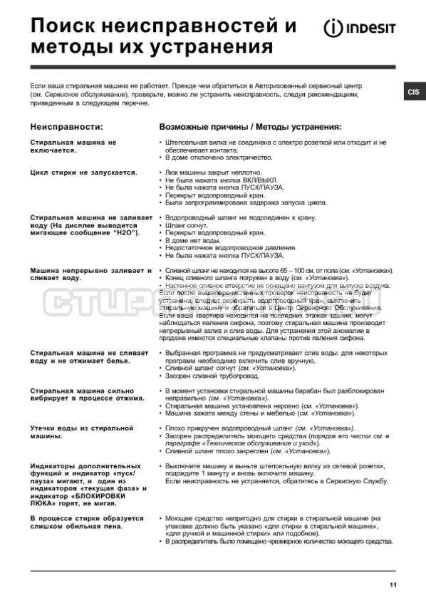 Инструкция Indesit IWSD 5085 страница №11
