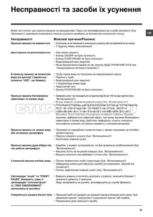 Инструкция Indesit IWSD 5125 SL страница №23
